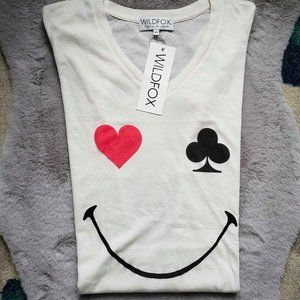 Wildfox || NEW Heart Club Smiley Face Tee XS